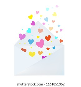 Love letter with envelope and hearts - card for the Valentines day. Vector graphic illustration