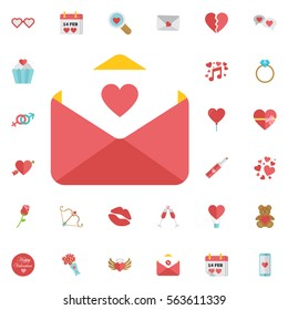 Love letter icon. Icon email with heard. Vector, illustration, flat. White background, red envelope. Set of Valentines icons
