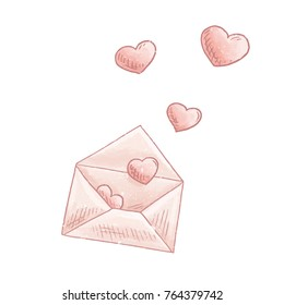 Love letter. Open email with heard cartoon vector. Valentines day post envelope hand drawn illustration. Romantic message