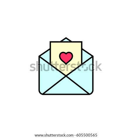 Love Letter Wedding Invitation Outline Icon Stock Vector Royalty