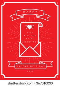 love letter will you be my valentine card template vector/illustration