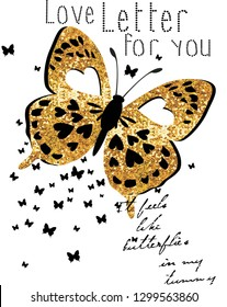 love letter for you,butterfly,for t-shirt slogan