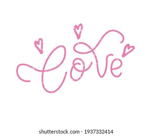 Love lettering with hearts. Hand drawn  line calligraphy. Ink vector inscription isolated on white background. Lettering for your handcrafted goods, product, shop, tags, labels