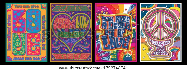 Love Lettering Hippie Style 1960s Psychedelic Artwork, Flowers, Hearts, Peace Symbols, Psychedelic Color Abstract Backgrounds