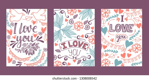 Love lettring vector lovely calligraphy lovable sign sketch iloveyou on Valentines day beloved card illustration backdrop set of love decor typography background