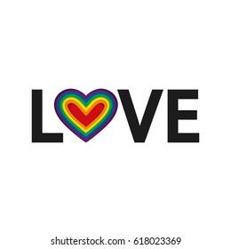 Love. LGBT Rainbow heart. Vector illustration, eps10. LGBT pride flag in vector format. Love text. Homosexual love and flag. Minimalism design.