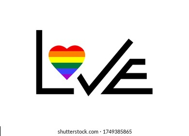 Love LGBTQ  isolated on white background. Gay Pride month. Design element for poster, greeting card, sticker; banner, a print on t-shirts and bags.