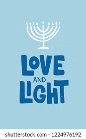 love and Light hand drawn lettering typography. Jewish holiday Hanukkah. Template for banner, greeting card, invitation, flyer, poster. Vector illustration