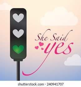 Love Lights - Creative Concept. She Said yes Road Sign with Birds sitting on wire, love ok yellow light, love approved green light .illustration