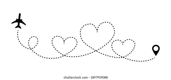 Love line airplane dotted route. Romantic heart dashed trace path, air plane flight start point. Vector illustration