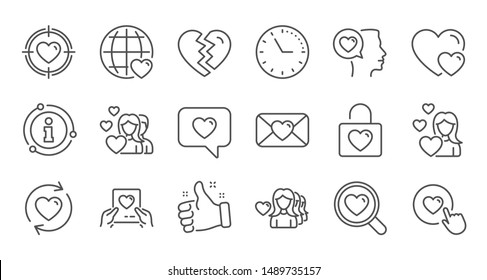 Love line icons. Heart, Valentines day and Relationships. Romantic linear icon set. Quality line set. Vector