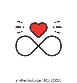 Love line infinite heart icon. Happy Valentine day sign and symbol. Love, couple, relationship, dating, wedding, holiday, romantic amour tattoo theme