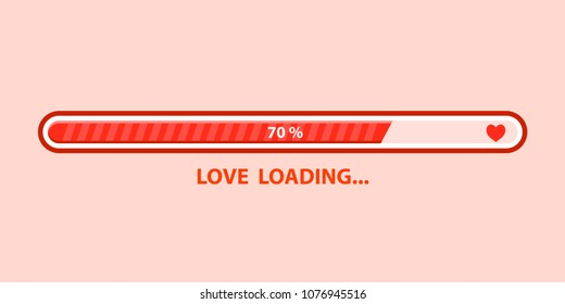 Love loading progress . Heart loading. Vector