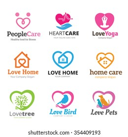 Love Logo collection, Real estate, Yoga, Health care, pets shop, tree symbol.