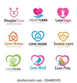 love logo collection real estate yoga health care pets shop tree - Home Health Logo Design
