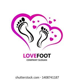 Love Logo. Love Feet Logo Icon. foot love logo. Foot love heart health icon. logo design.
