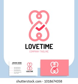 Love logo hearts time and infinity symbols valentine relationship and medicine