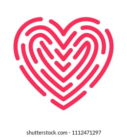 Love logo. Red heart and fingerprint or labyrinth. Loveness sign. Creative vector design illustration.
