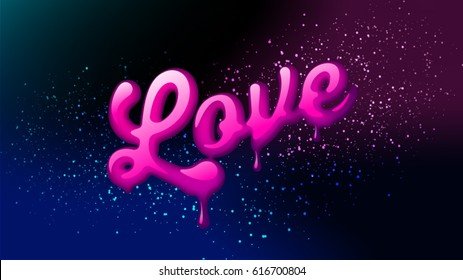 Love logo symbol. Hand lettering. 80's an 90's style. Trendy texture. Concept calligraphy design for greeting card, Valentines day Love letter invitation. Three dimensional logo easy editable.