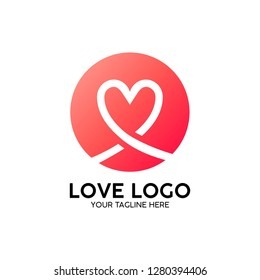 love logon heart with pink graphic creative template