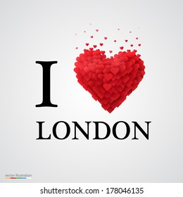 i love London, font type with heart sign.