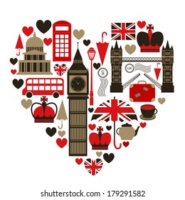 Love London heart symbol with icons set isolated vector illustration