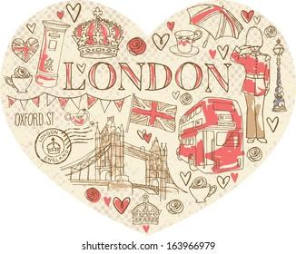 I Love London - icons in heart shape