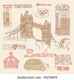 I love London icons sketch vector