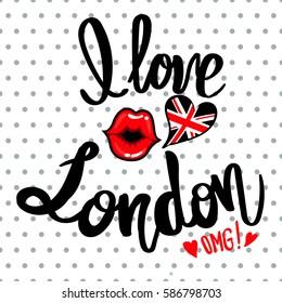 I love London slogan on white background, dots seamless pattern.