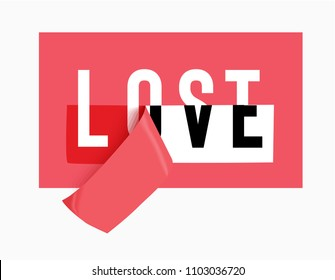love and lost on red sticker illustration