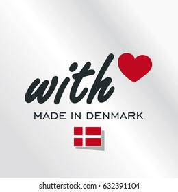 With Love Made in Denmark logo silver background
