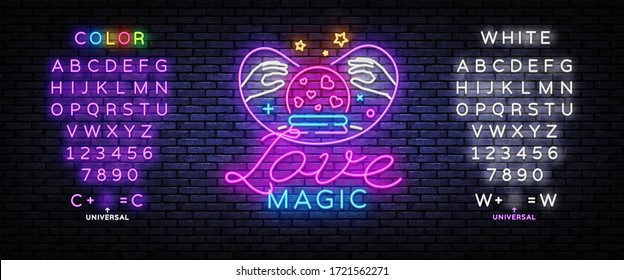 Love Magic neon sign vector. Love Concept Design template, light banner, night signboard, nightly bright advertising, light inscription. Vector illustration. Editing text neon sign.