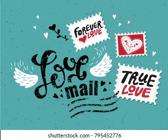 Love mail, hand-drawn lettering. The inscription Love in the style of a postage stamp. Stamps with hand-drawn love quotes: share the love, with all my heart, be mine