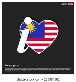 I love Malaysia flag heart