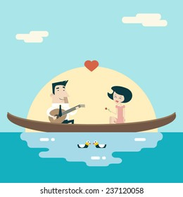 Love Male and Female on Gondola Cartoon Characters Valentine's Day Icons Greeting Card Concept Stylish Background Flat Design Template Vector Illustration