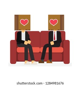In love man and woman sitting on a couch , Valentines day