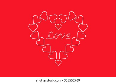 Love many hearts on red background
