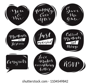 Love And Marriage Handwritten Quotes And Card Templates. Modern Calligraphy  In Black Speech Bubbles.