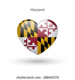 Love Maryland state symbol. Heart flag icon. Vector illustration.