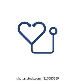 love medical logo. health heart logo. vector icon.