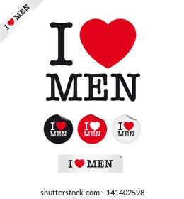 i love men, font type with signs, stickers and tags. Ideal for print poster, card, shirt, mug.