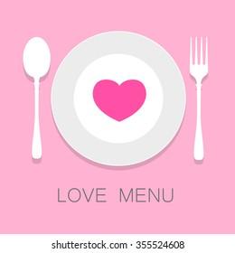 Love menu, menu template, Love food, Food Logo,Vector Template.