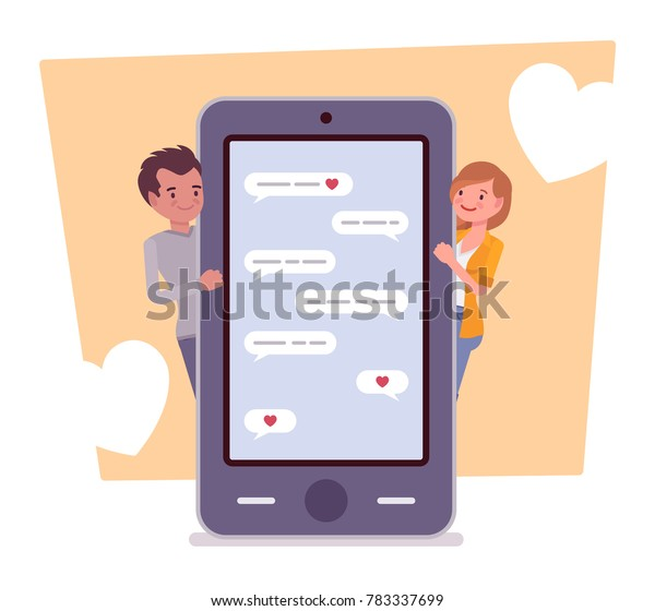 Love Messenger Young Happy Couple Using Stock Vector