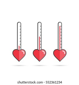 Love meter heart thermometer vector concept illustration.