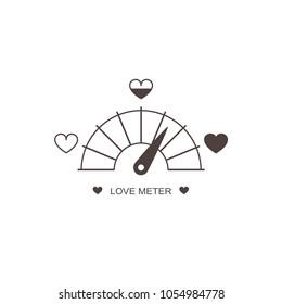 Love meter, Valentine's Day card design element. Wedding infographics for lovers. Vector graphic illustration, EPS10.