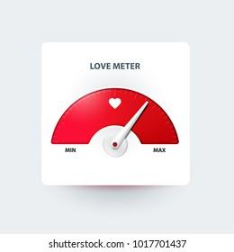 Love meter. Valentine's day greeting card design element. Measuring device of love. Vector illustration