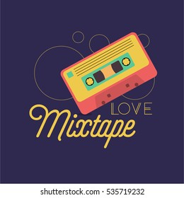 """""""love mixtape"""" quote. vector illustration of a retro cassette in bright colours on a purple background. mixtape concept. eps 10"""