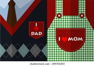 I love mom and I love dad flat design vector