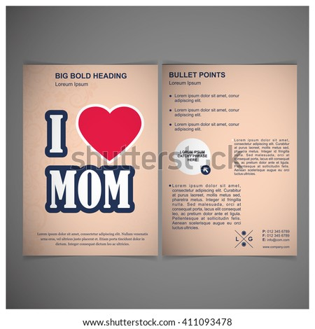 love mom mother day brochure template stock vector royalty free