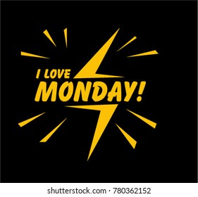 I Love Monday, Beautiful greeting card poster with comic style